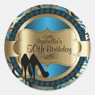 Blue Abstract Birthday Black High Heels Round Sticker