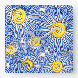 Blue abstract chamomile design wall clock