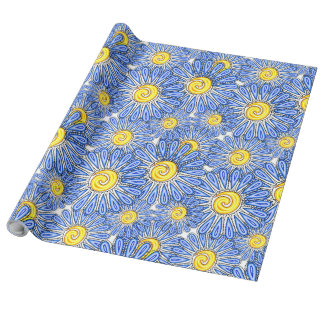 Blue abstract chamomile design wrapping paper