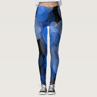 Blue Abstract Circle Leggings