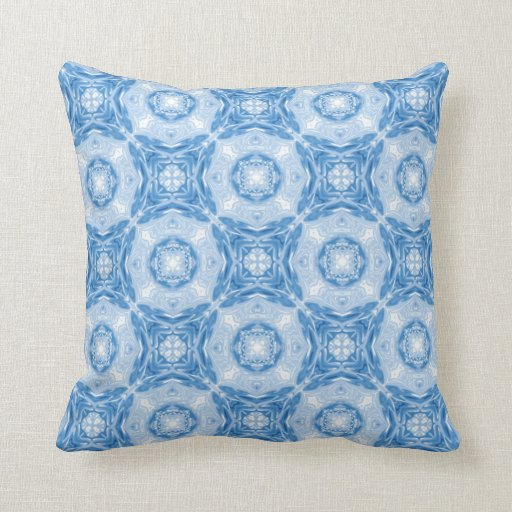 Blue abstract circles pattern throw pillows