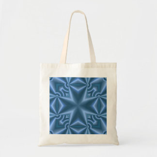 Blue abstract cross budget tote bag