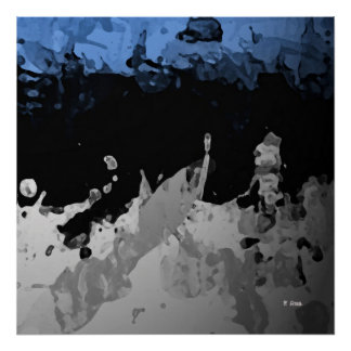 Blue Abstract dark and congregation Poster