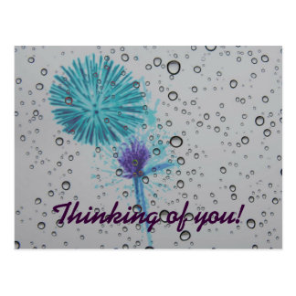 Blue Abstract Firework Thinking of You Postcard