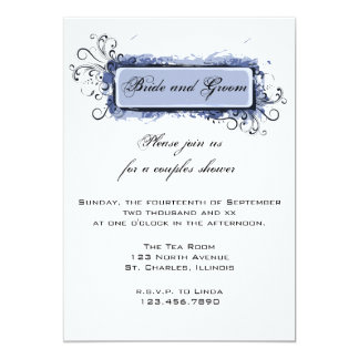 Blue Abstract Floral Couples Wedding Shower Invite