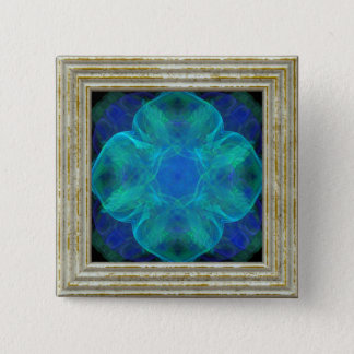 Blue Abstract Flower 2 Inch Square Button