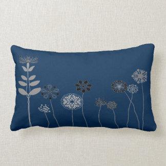 blue Abstract flower garden Throw pillow