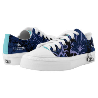 Blue Abstract Flowers Low-Top Sneakers