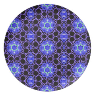 Blue abstract fractal pattern plates
