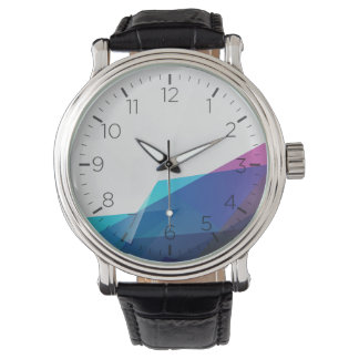 Blue abstract geometric shapes men's watch