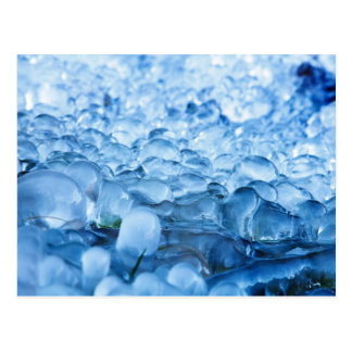 Blue Abstract Ice Crystals Water Drops Postcard