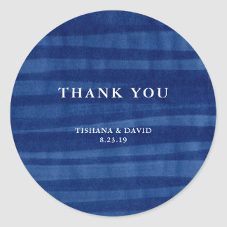 Blue Abstract Ink Wedding Thank You Classic Round Sticker
