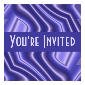 blue abstract 5.25x5.25 square paper invitation card