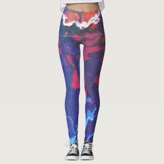 Blue abstract leggings