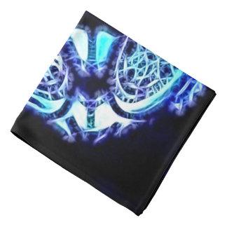 Blue abstract lights black, fantasy portal pattern bandana