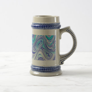 blue abstract mess 18 oz beer stein