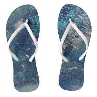 Blue Abstract No.5 Flip Flops