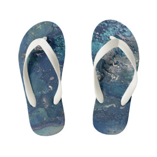 Blue Abstract No.5 Kid's Flip Flops