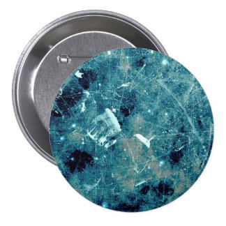 Blue abstract paint grunge style digital art 3 inch round button