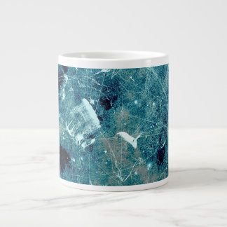 Blue abstract paint grunge style digital art large coffee mug
