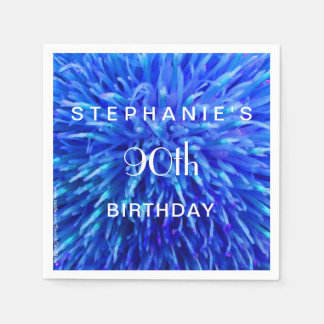 Blue Abstract Paper Napkins 90th Birthday Party