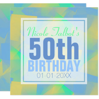 Blue Abstract pastel 50th Birthday Square Inv Card