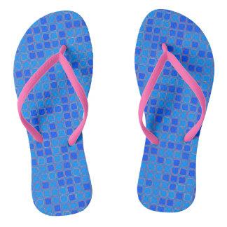 Blue Abstract Pattern Flip Flops