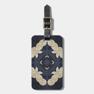 blue abstract pattern geometric quatrefoil yoga luggage tag