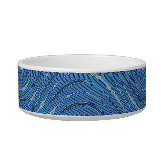 blue abstract pattern cat bowls
