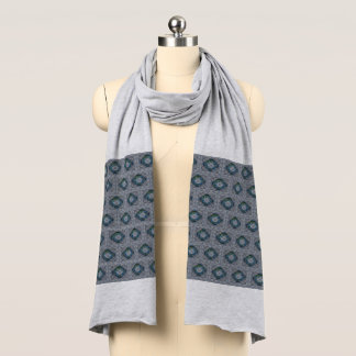 Blue Abstract Print Jersey Scarf