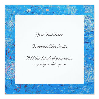 """Blue Abstract Printed Pattern 5.25"""" Square Invitation Card"""