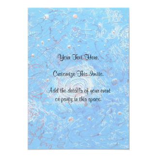 """Blue Abstract Printed Pattern 5"""" X 7"""" Invitation Card"""