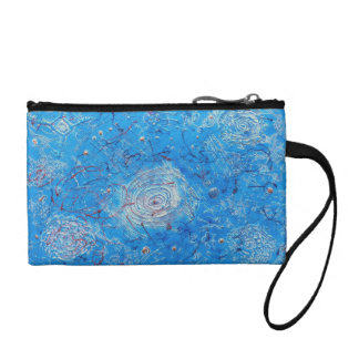 Blue Abstract Printed Pattern. Change Purses