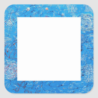 Blue Abstract Printed Pattern Square Sticker