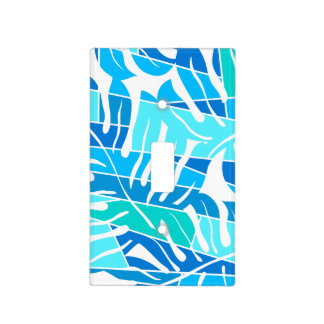 Blue abstract surf light switch cover