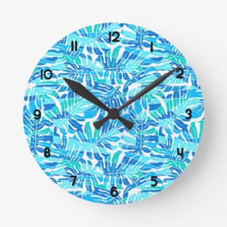 Blue abstract surf round clock