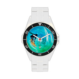 Blue Abstract Surfer Silhouette Wrist Watches