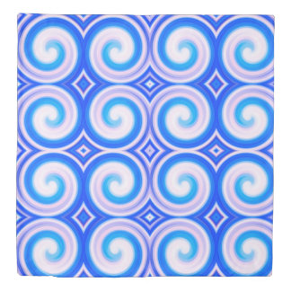 Blue Abstract Swirl Pattern Duvet Cover