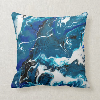 Blue Abstract Throw Pillow with White back