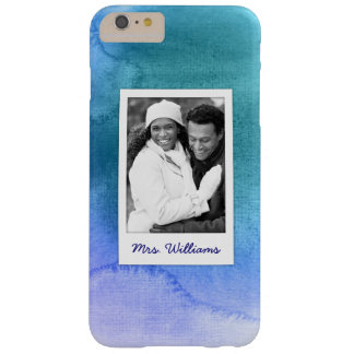Blue Abstract Watercolor | Add Photo Barely There iPhone 6 Plus Case