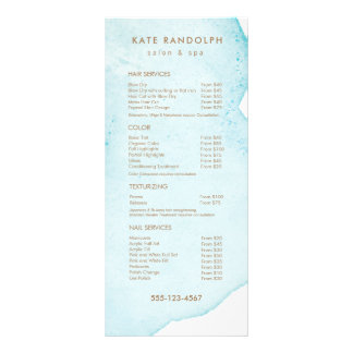 Blue Abstract Watercolor Salon Price List Menu