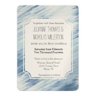 Blue Abstract Wedding 5x7 Paper Invitation Card