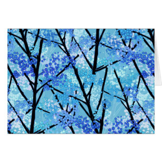 Blue Abstract With Trees And Bubbles Greeting Card