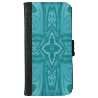 Blue abstract wood cross iPhone 6 wallet case