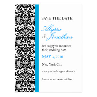 Blue Accent Damask Save the Cate Card