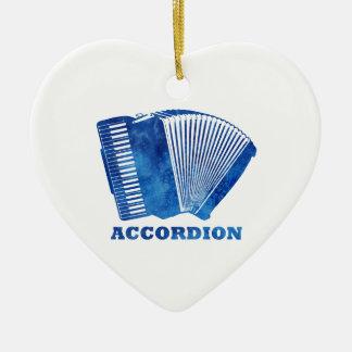 Blue Accordion Ceramic Heart Ornament