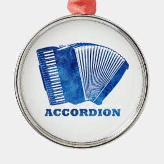 Blue Accordion Silver-Colored Round Ornament