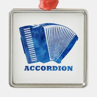 Blue Accordion Silver-Colored Square Ornament