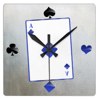 Blue ace of diamonds/card suit clock