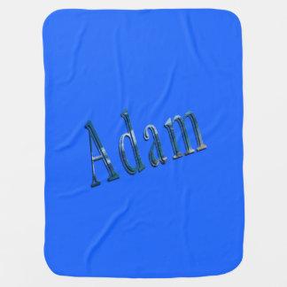 Blue Adam Name Logo, Baby Blanket